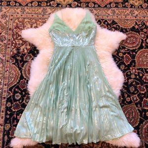 Topshop Dresses - TOPSHOP Metallic Plunge Pleat Midi Dress